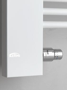 Detailansicht Anschlusstechnik & integrierter Thermostatkopf Kermi Credo-Half Design- und Badheizkörper